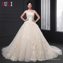 Сл-020 удивительные без бретелек аппликация молния бальное платье часовня поезд свадебное платье 2016