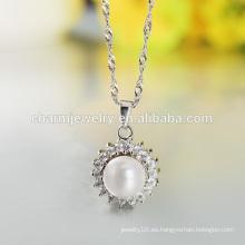 2016 última moda Noble Pearl 925 diseño de collar de plata para las mujeres occidentales SCR017
