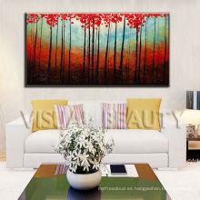 Pintura al óleo roja de los árboles por el artista