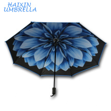 "21""*8k Mum Flower Inside Full Printed UV Protection Windproof Collapsible 3 Fold Travel Compact Umbrella With Logo Prints Custom"