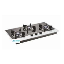 Glen Black & White Gas Hob 3 Burners