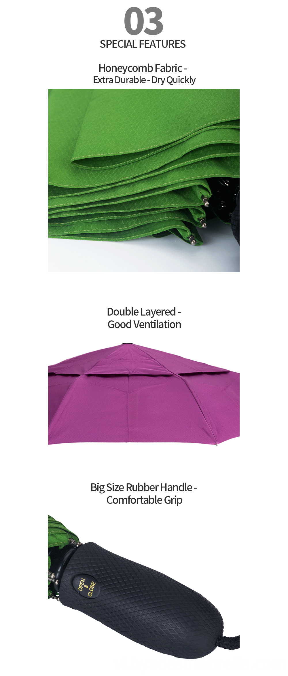 Auto Ope And Close Folding Umbrella Rubber Handle