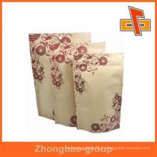 Saco de papel kraft reutilizável com janela e zíper para alimentos