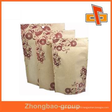 reusable kraft paper bag with window and zipper for food