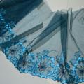 Синий цветочный узор кружевной вышивки высокого качества