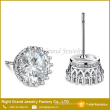 Customized Size Fashion Zinc Alloy Clear Prong Set Cubic Zirconia Stud Earrings