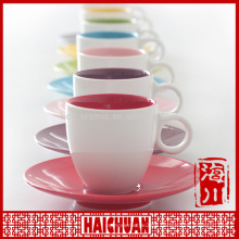 Wholesale promotional business gift item eco ware ceramic silver tea cup and saucer with ring handle