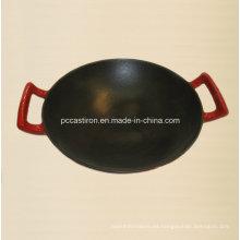 Hierro fundido Wok dentro del esmalte negro fuera del esmalte rojo