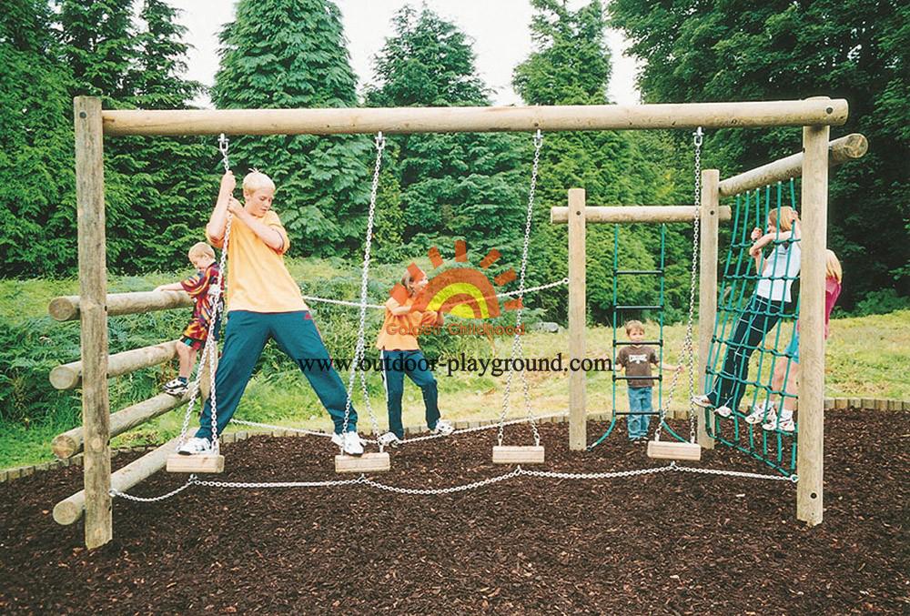 Outdoor Woooden Climbing Net Playground For Fun