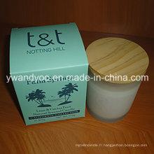 Bougie de soja parfumée décorative en pot de verre givré avec couvercle