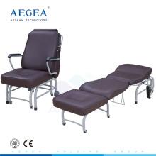 AG-AC008 Luxuriöses braunes Lederüberzugskrankenhaus begleitet Bett faltenden medizinischen Stuhl