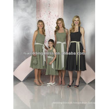 HB2140 Sexy black gathered top chiffon sash front A-line below knee length cheap zipper back halter neck short bridesmaid dress