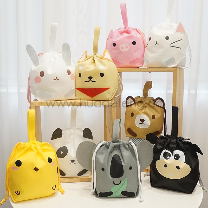 animal print drawstring bags