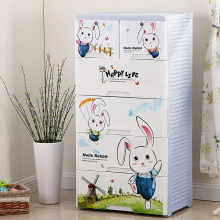 Cartoon Rabbit Design Plastic Drawer Storage Cabinet (HW-2653)