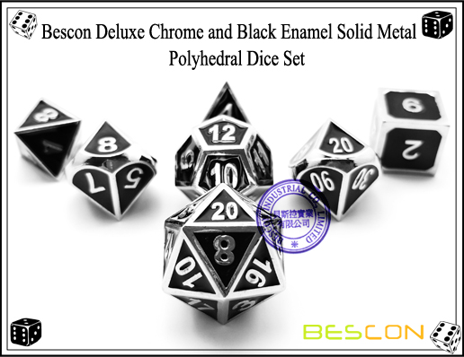 Bescon Deluxe Chrome and Black Enamel Solid Metal Polyhedral Role Playing RPG Game Dice Set (7 Die in Pack)-1