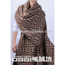 100%cashmere jacquard infinity shawl for women