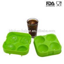 Fabricante al por mayor de la bandeja del molde de la bola del hielo del silicón verde al por mayor