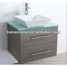2012 Hot Designed MDF Bathroom Cabinet With Glass Taptop