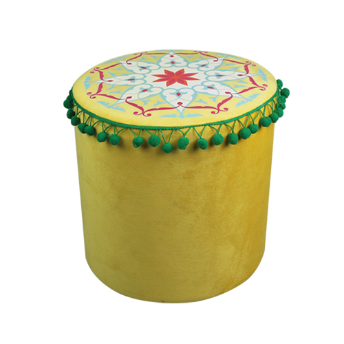 India and Pakistan style yellow circular cylinder stool