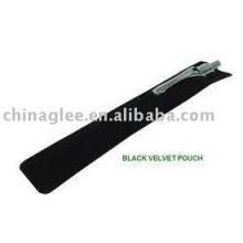 Artículo stock venta caliente negro bolsa de la pluma de terciopelo