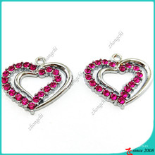 Purple Crystal Heart Charms Pendant for DIY Jewelry (MPE)