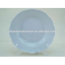 Plaque à soupe de porcelaine blanche de 8 po