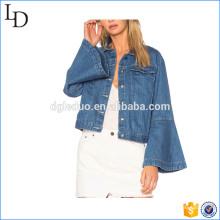 Flûte manches jean veste en gros plainwomen en gros veste de printemps
