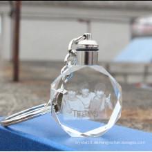 Hochwertige Lasergravur LED-Licht Kristall Schlüsselanhänger