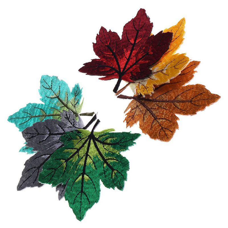 Colorful Maple Leaf Embroidery Patches