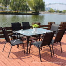 Outdoor metal chairs and table poolside furniture bistro fabric dining sets