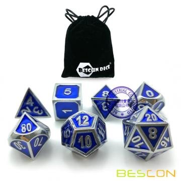 Bescon Deluxe Shiny Chrome and Blue Enamel Solid Metal Polyhedral Role Playing RPG Game Dice Set of 7