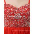 En gros en mousseline de soie élégante robe de mariée rouge Lady robe de soirée formelle