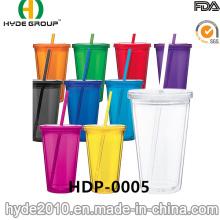 Vaso plástico libre de BPA modificado para requisitos particulares con paja y tapa (HDP-0005)