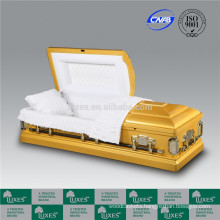 LUXES Gold Wooden Casket Funeral Caskets With Excellent Quality