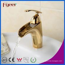 Fyeer High Quality Brass Basin Tap Mixer Golden Waterfall Faucet
