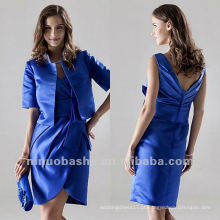 Charming With Jacket Blue V Neck Satin Short Mãe vestido de noiva Party Gown