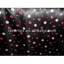 Poliéster preto e vermelho impresso tecido de cetim para o vestido da senhora