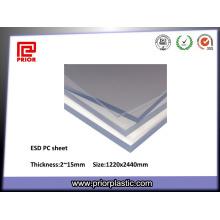 Folha de policarbonato antiestático com alta resistência ao impacto