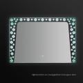 Retroiluminado LED espejo de baño de marco de PVC pantalla táctil con reloj