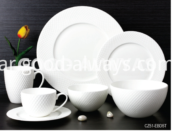 Fine Bone China Embossed Tableware