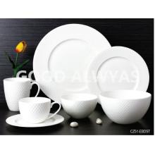 Fine bone china embossed tableware