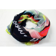 100% recycled polyester print snood scarf soft handfeeling