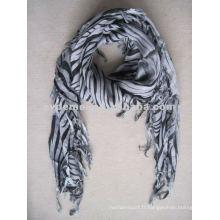 Echarpe taille carrée gris et noir