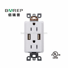 Standard Outlet 2 Socket & Dual USB Ports Tamper Resistant Receptacle USB Outlet