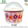Tazón de fuente de papel desechables frío helado, papel de taza (12 onzas-2)