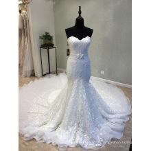 Querida Beading Lace Sereia Evening Prom Party Wedding vestido de noiva