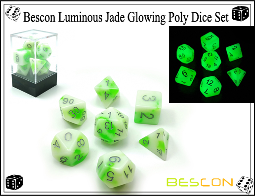 Bescon Luminous Jade Glowing Poly Dice Set-7