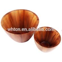 Durável handmade não tóxico madeira salada tigela tigela de arroz