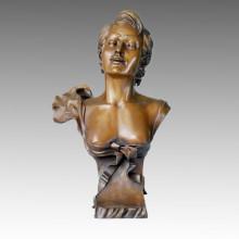 Bustes Bronze Sculpture Maiden Carving Deco Statue en laiton TPE-215