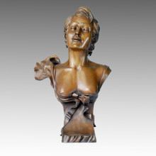 Busts Bronze Sculpture Maiden Carving Deco Brass Statue TPE-215